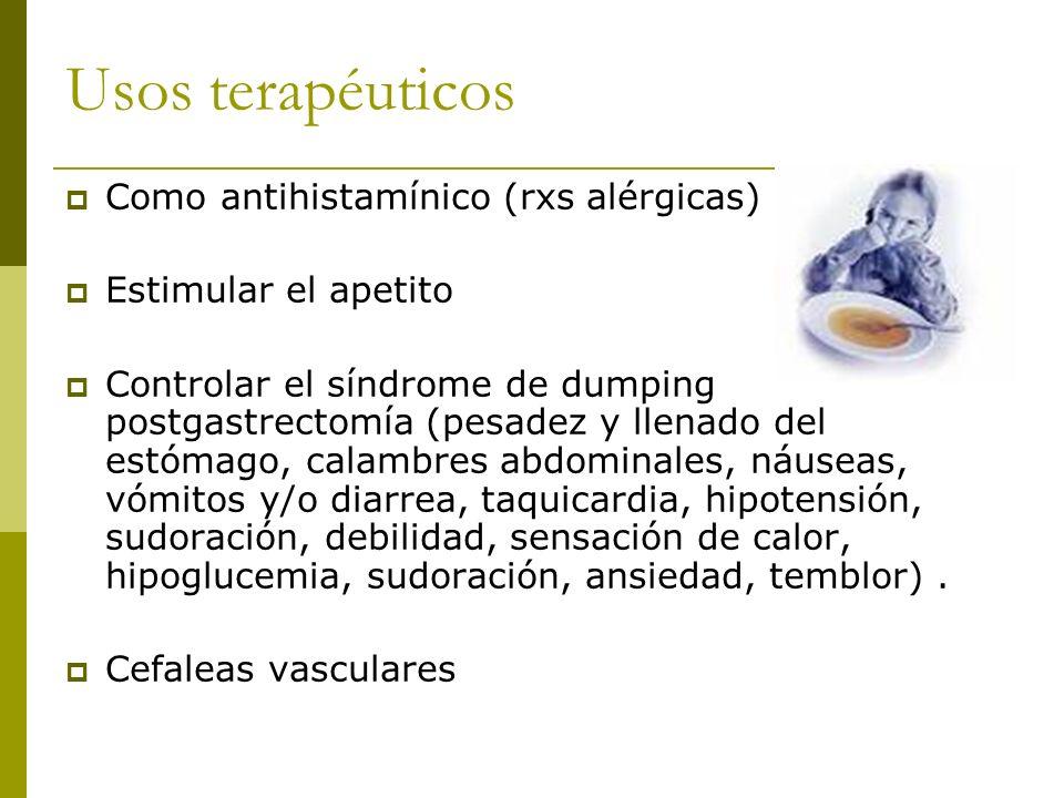 Usos terapéuticos Como antihistamínico (rxs alérgicas)