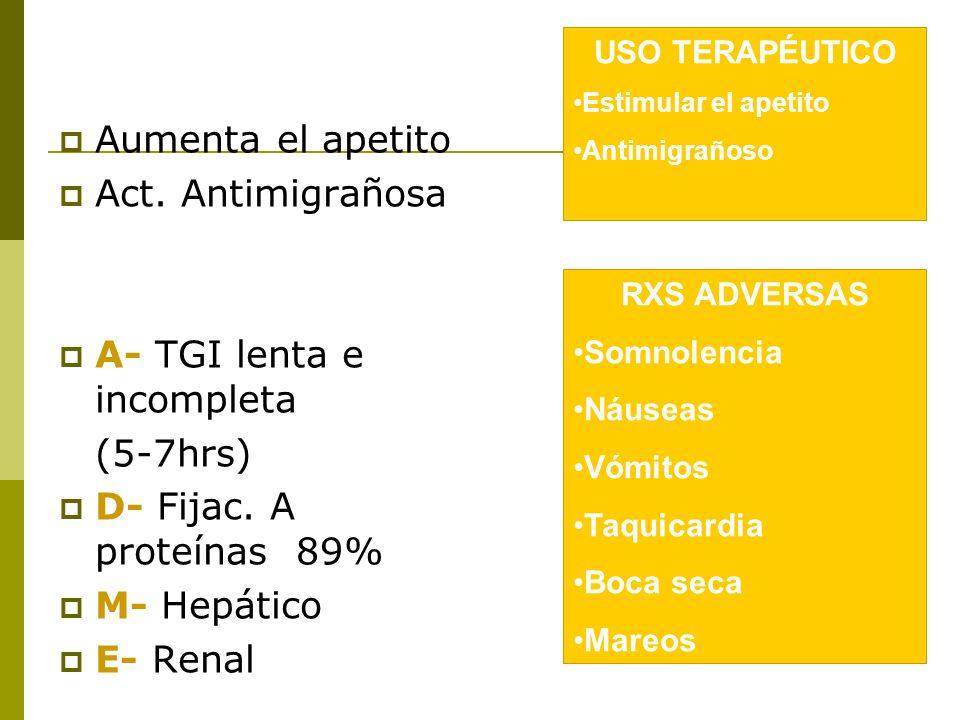 A- TGI lenta e incompleta (5-7hrs) D- Fijac. A proteínas 89%