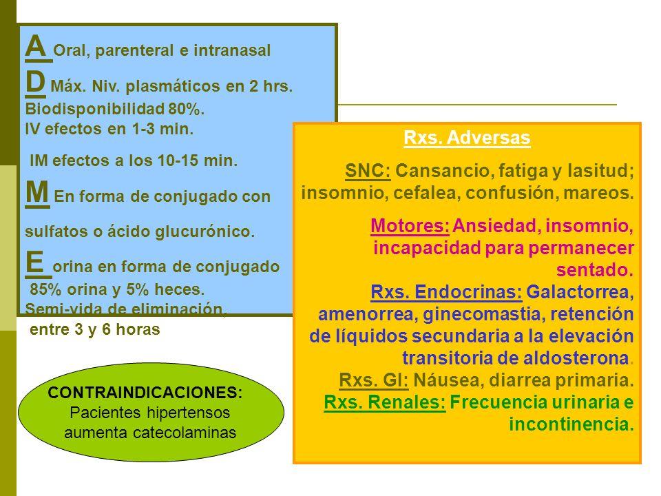 A Oral, parenteral e intranasal D Máx. Niv. plasmáticos en 2 hrs.