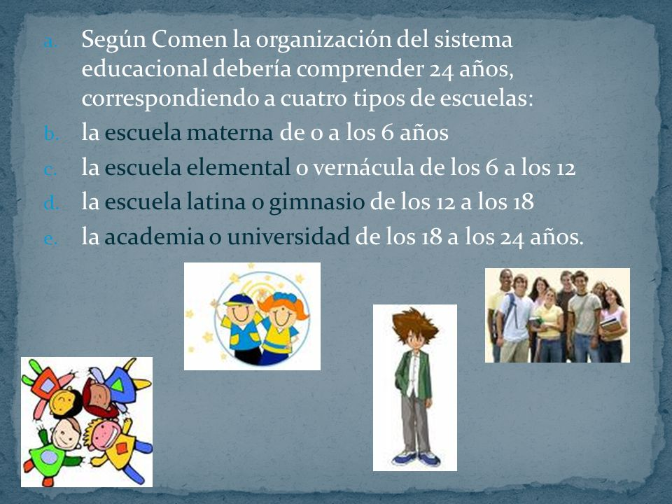 Según Comen la organización del sistema educacional debería comprender 24 años, correspondiendo a cuatro tipos de escuelas: