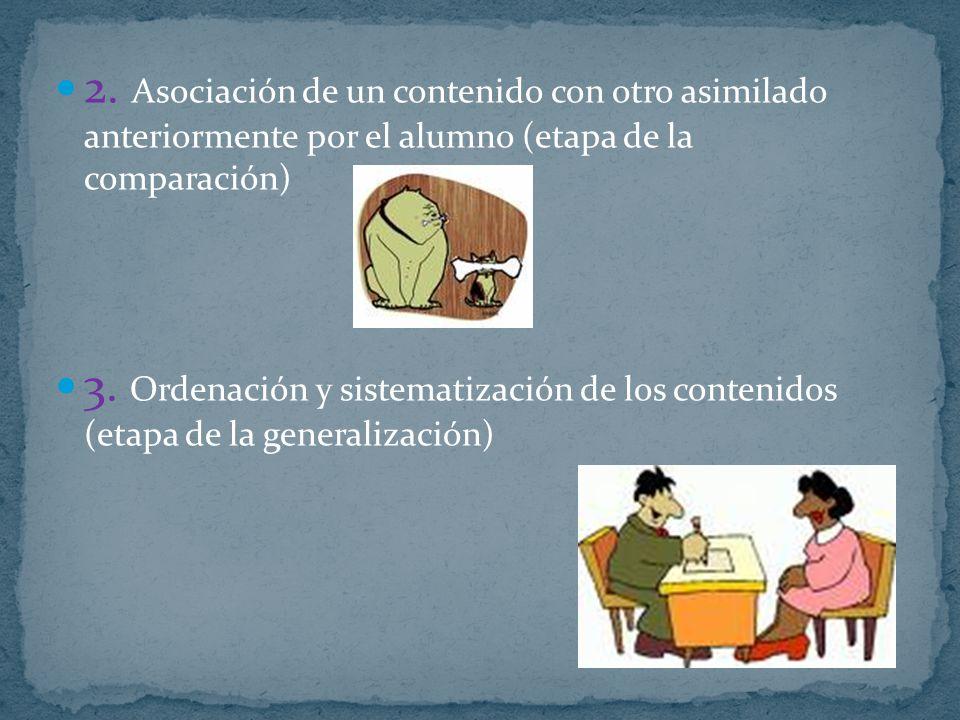 2. Asociación de un contenido con otro asimilado anteriormente por el alumno (etapa de la comparación)