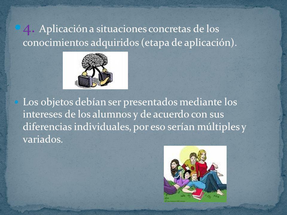 4. Aplicación a situaciones concretas de los conocimientos adquiridos (etapa de aplicación).
