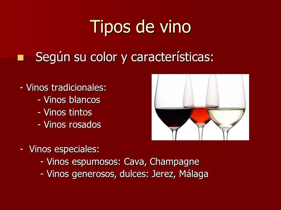 Tipos de vino Según su color y características: - Vinos tradicionales: