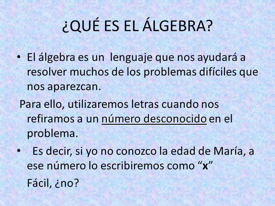 ¿QUÉ ES EL ÁLGEBRA El álgebra es un lenguaje que nos ayudará a resolver muchos de los problemas difíciles que nos aparezcan.