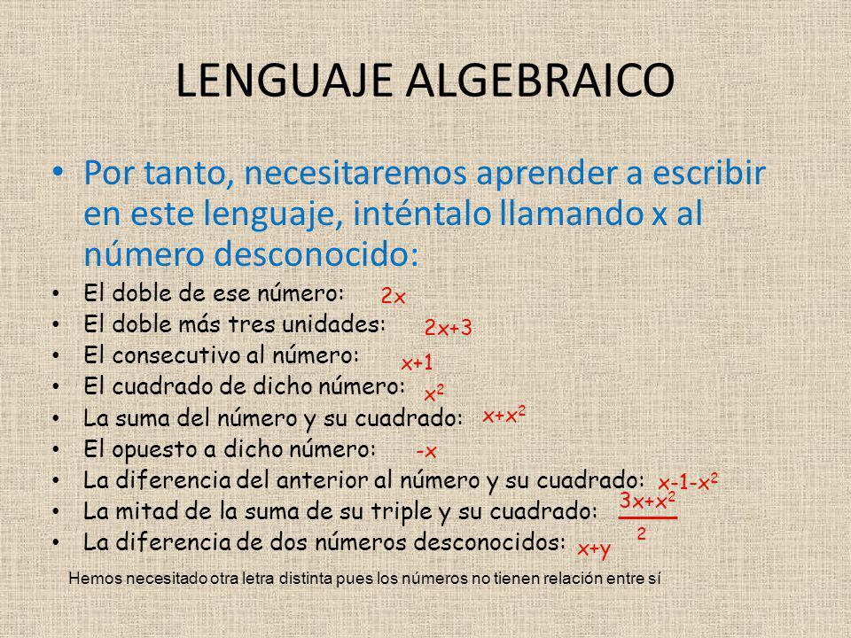 LENGUAJE ALGEBRAICO Por tanto, necesitaremos aprender a escribir en este lenguaje, inténtalo llamando x al número desconocido: