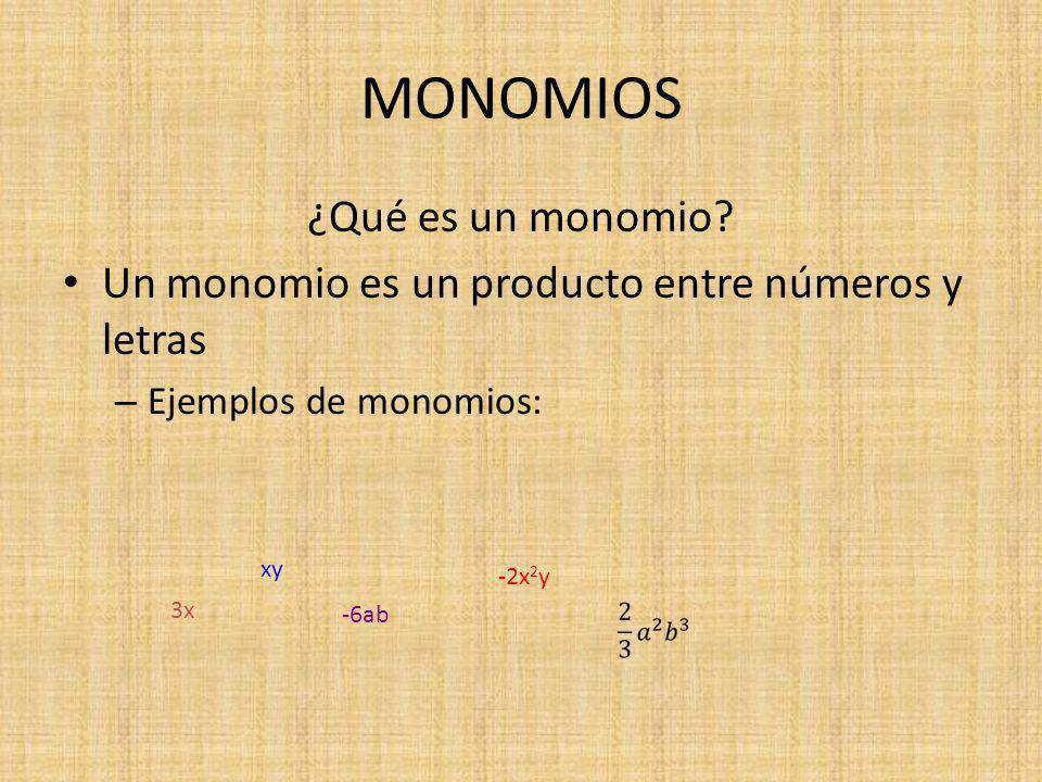 MONOMIOS ¿Qué es un monomio