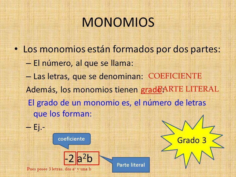 MONOMIOS -2 a2b Los monomios están formados por dos partes: