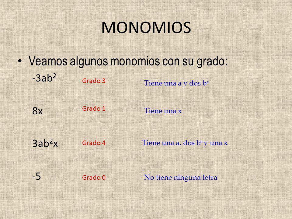 MONOMIOS Veamos algunos monomios con su grado: -3ab2 8x 3ab2x -5