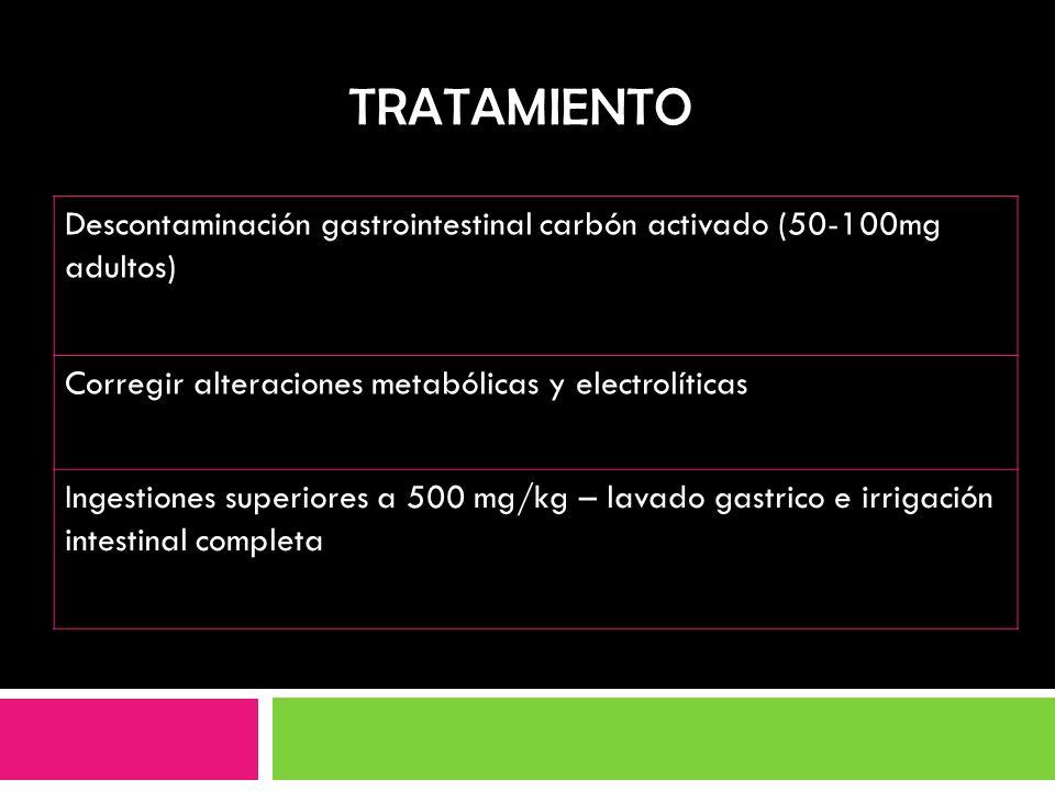 TRATAMIENTO Descontaminación gastrointestinal carbón activado (50-100mg adultos) Corregir alteraciones metabólicas y electrolíticas.