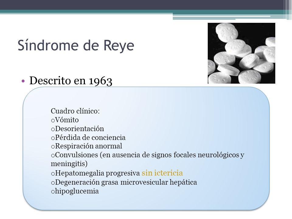 Síndrome de Reye Descrito en 1963 Cuadro clínico: Vómito