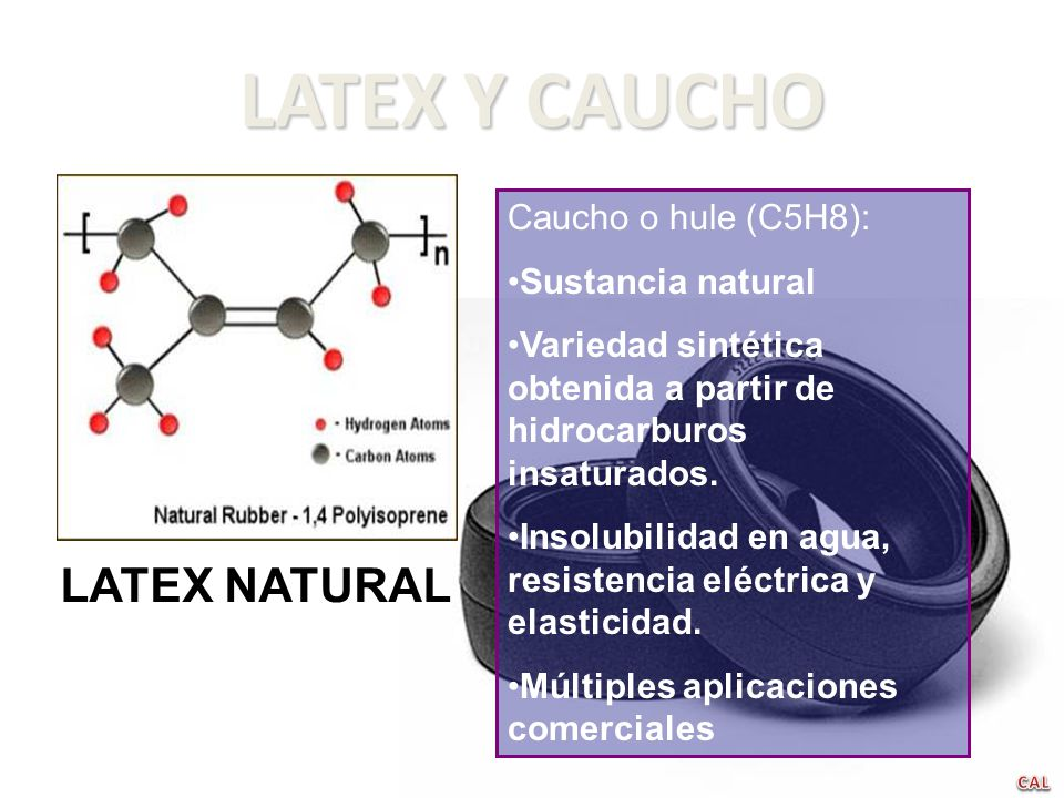 LATEX Y CAUCHO LATEX NATURAL Caucho o hule (C5H8): Sustancia natural