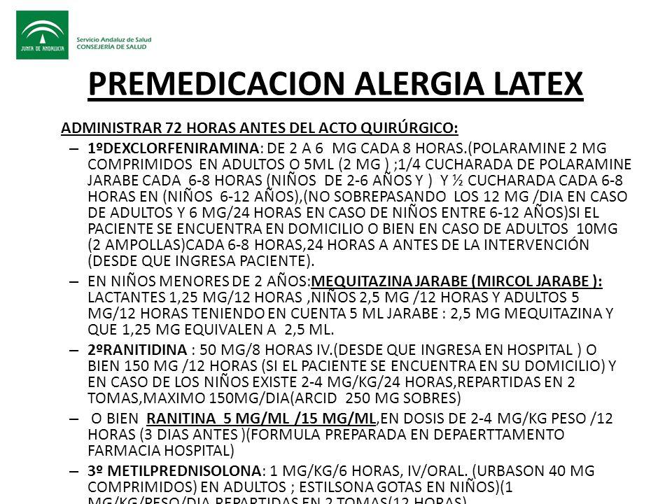PREMEDICACION ALERGIA LATEX