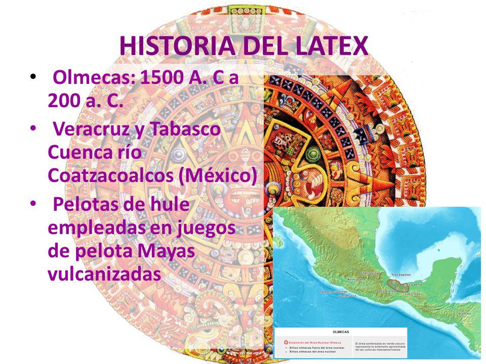 HISTORIA DEL LATEX Olmecas: 1500 A. C a 200 a. C.