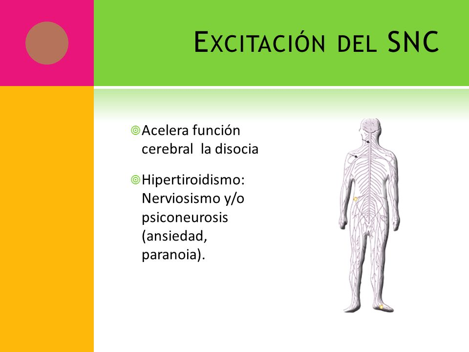 Excitación del SNC Acelera función cerebral la disocia