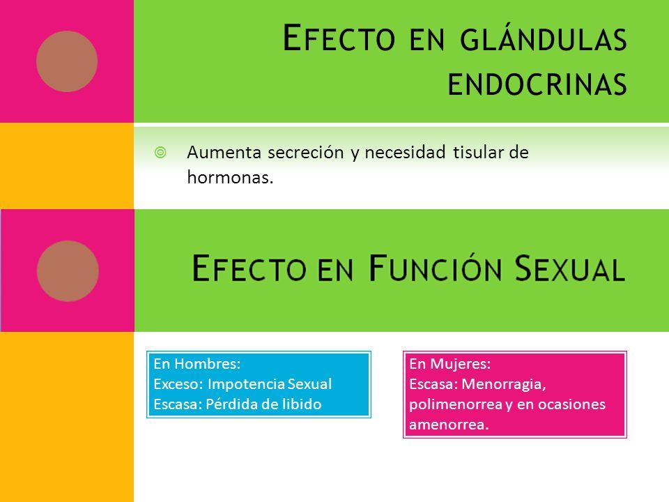 Efecto en glándulas endocrinas