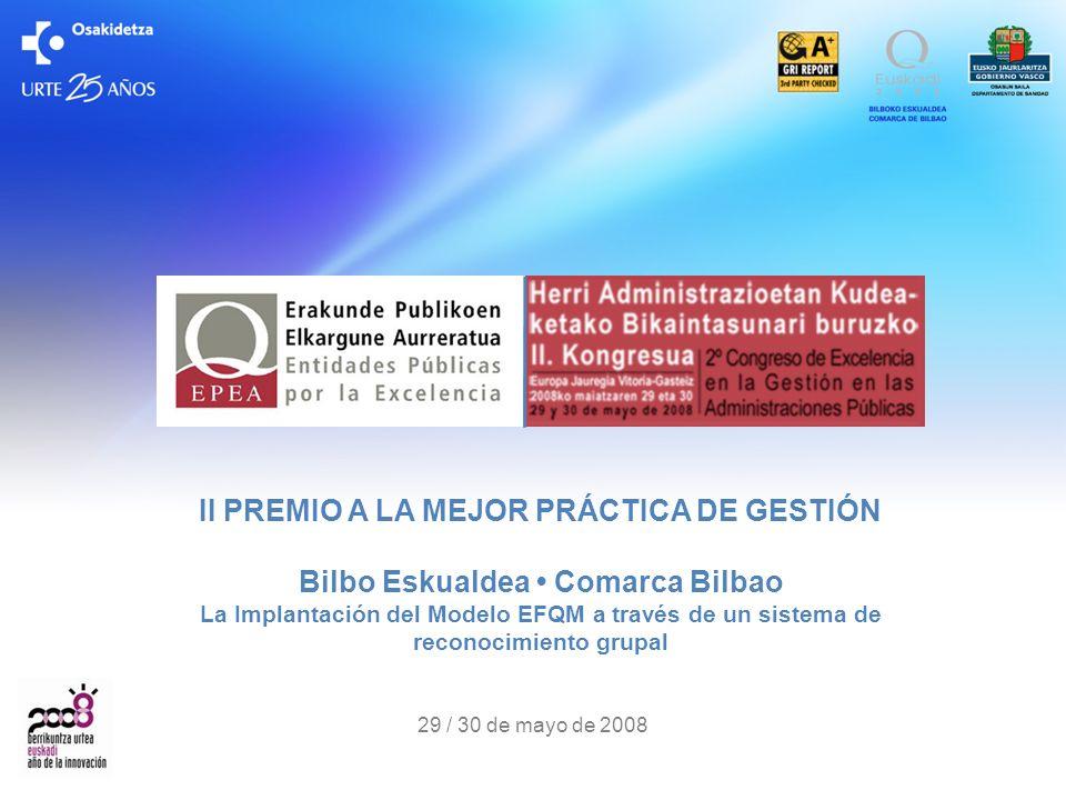 II PREMIO A LA MEJOR PRÁCTICA DE GESTIÓN Bilbo Eskualdea • Comarca Bilbao La Implantación del Modelo EFQM a través de un sistema de reconocimiento grupal