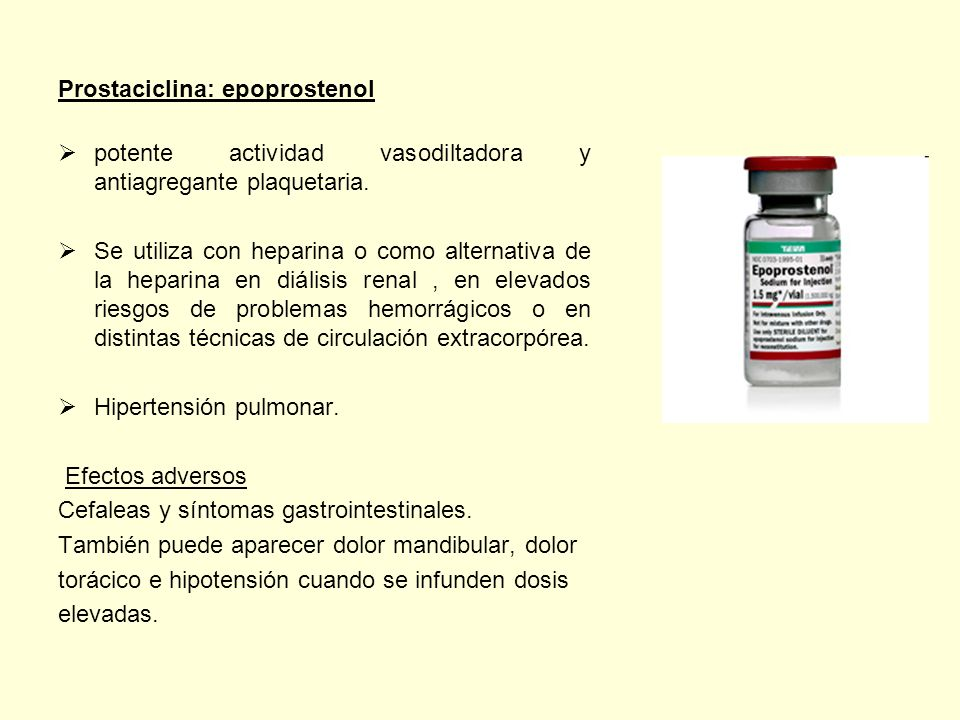 Prostaciclina: epoprostenol