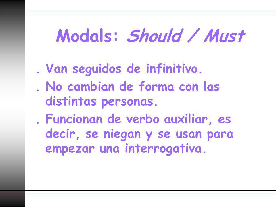 Modals: Should / Must . Van seguidos de infinitivo.