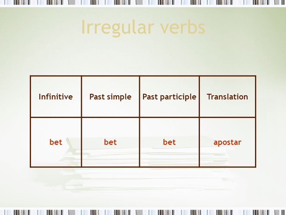 Irregular verbs Infinitive Past simple Past participle Translation bet