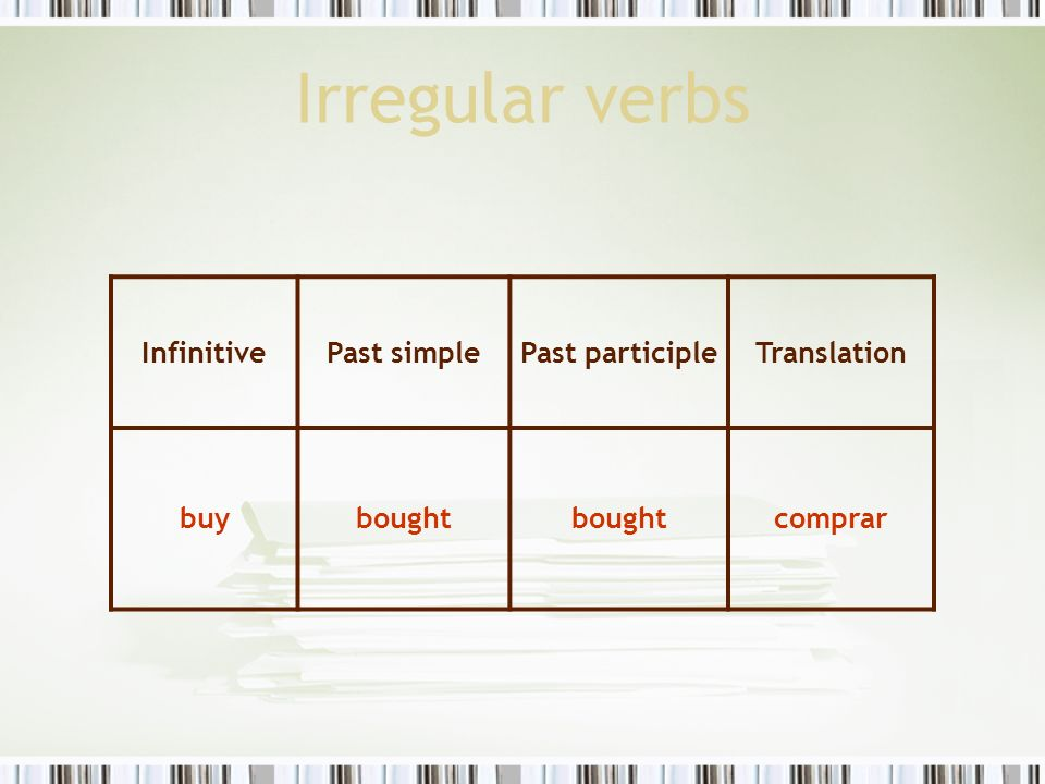 Irregular verbs Infinitive Past simple Past participle Translation buy