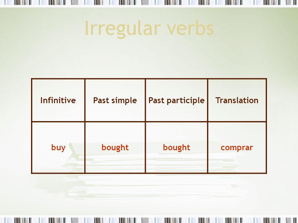 Irregular verbs Infinitive Past simple Past participle Translation buy