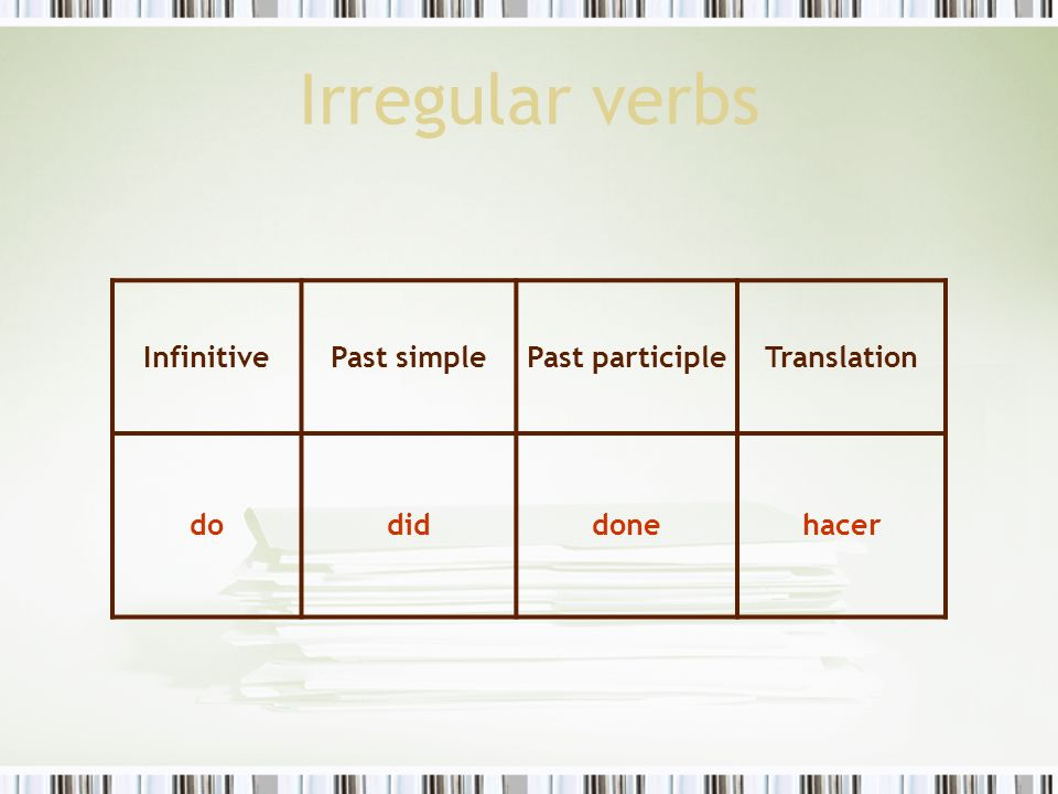 Irregular verbs Infinitive Past simple Past participle Translation do