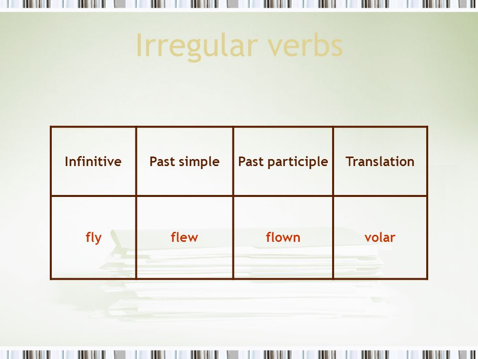 Irregular verbs Infinitive Past simple Past participle Translation fly