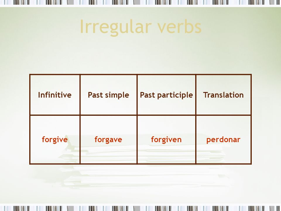 Irregular verbs Infinitive Past simple Past participle Translation