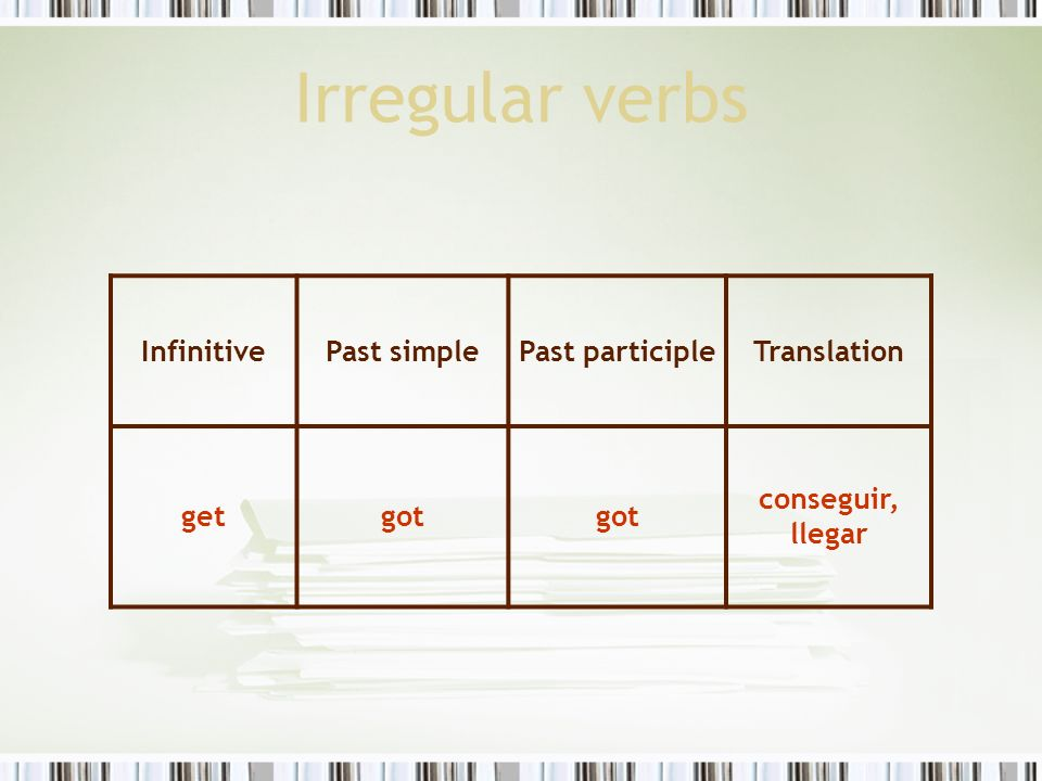 Irregular verbs Infinitive Past simple Past participle Translation get