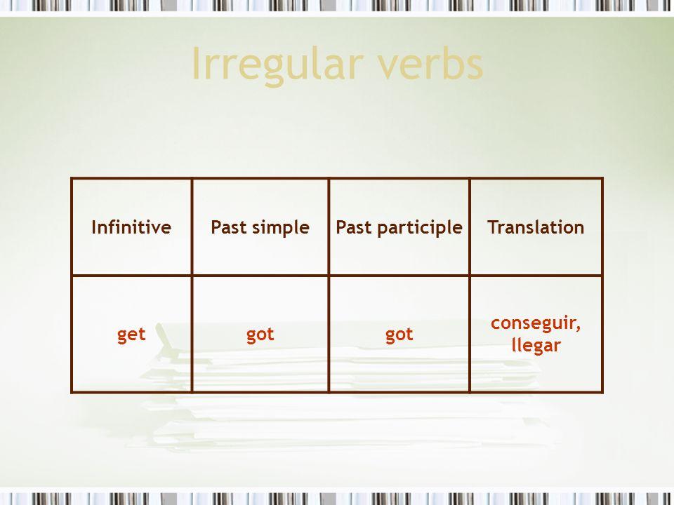 Irregular verbs Infinitive Past simple Past participle Translation get