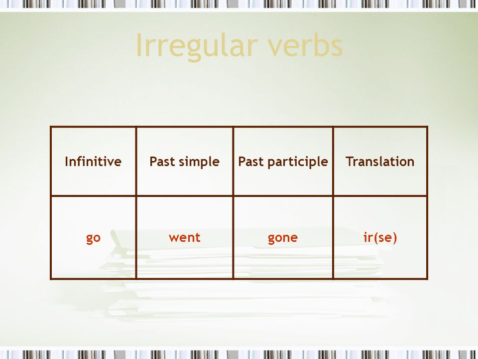 Irregular verbs Infinitive Past simple Past participle Translation go