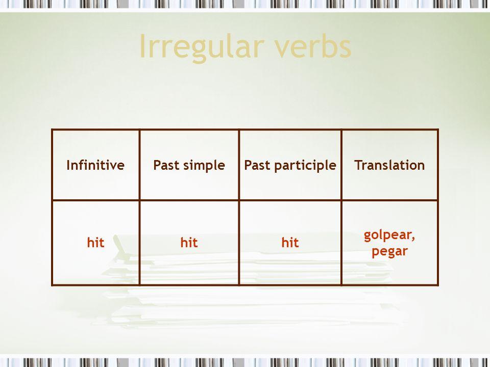 Irregular verbs Infinitive Past simple Past participle Translation hit