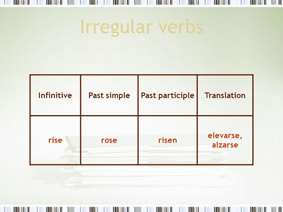 Irregular verbs Infinitive Past simple Past participle Translation