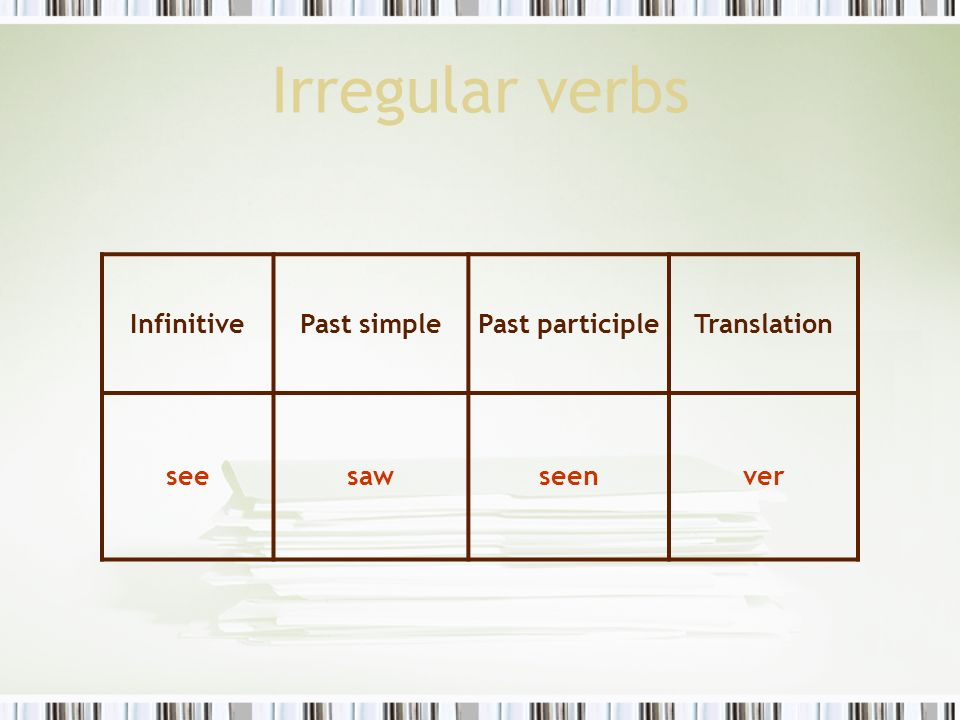Irregular verbs Infinitive Past simple Past participle Translation see