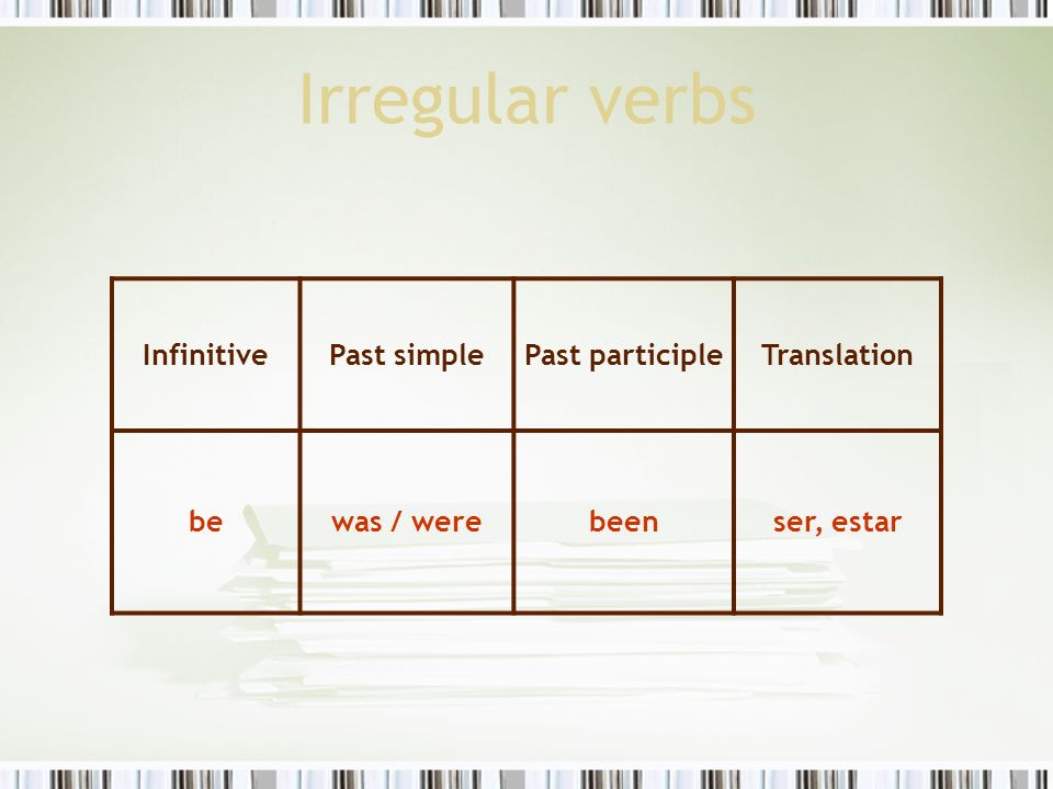 Irregular verbs Infinitive Past simple Past participle Translation be