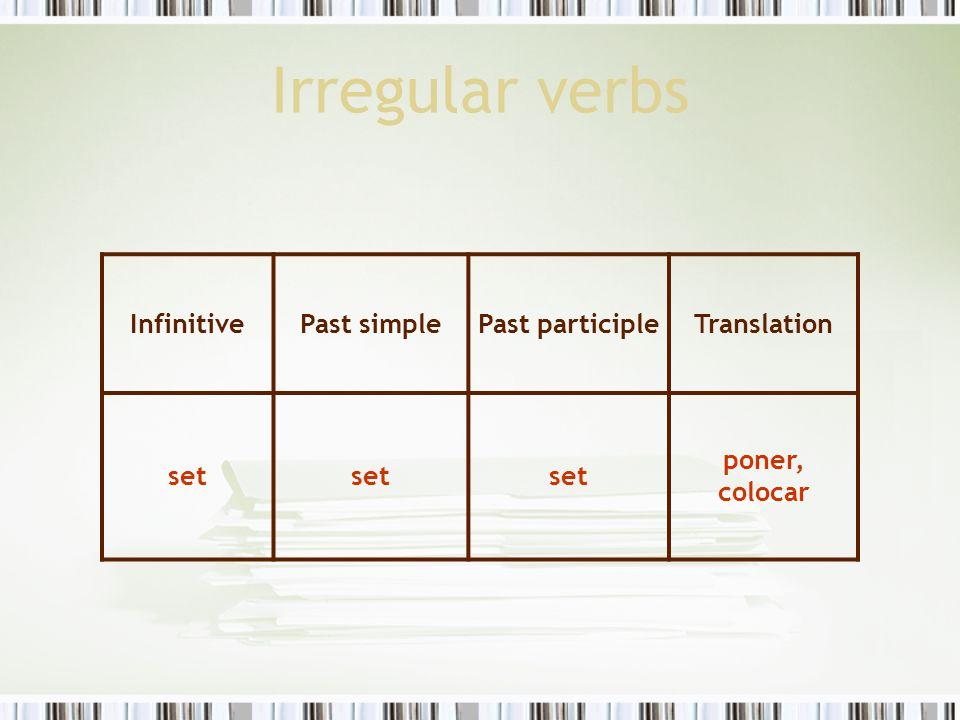 Irregular verbs Infinitive Past simple Past participle Translation set