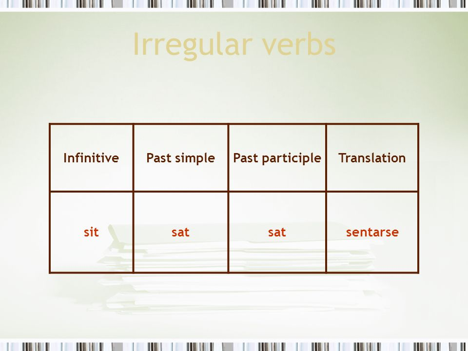 Irregular verbs Infinitive Past simple Past participle Translation sit