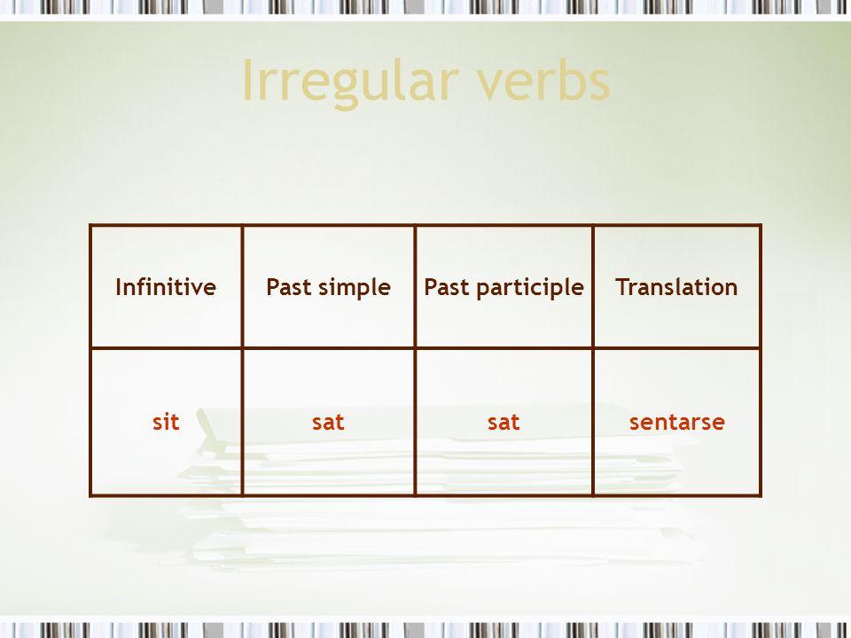 Irregular verbs Infinitive Past simple Past participle Translation sit