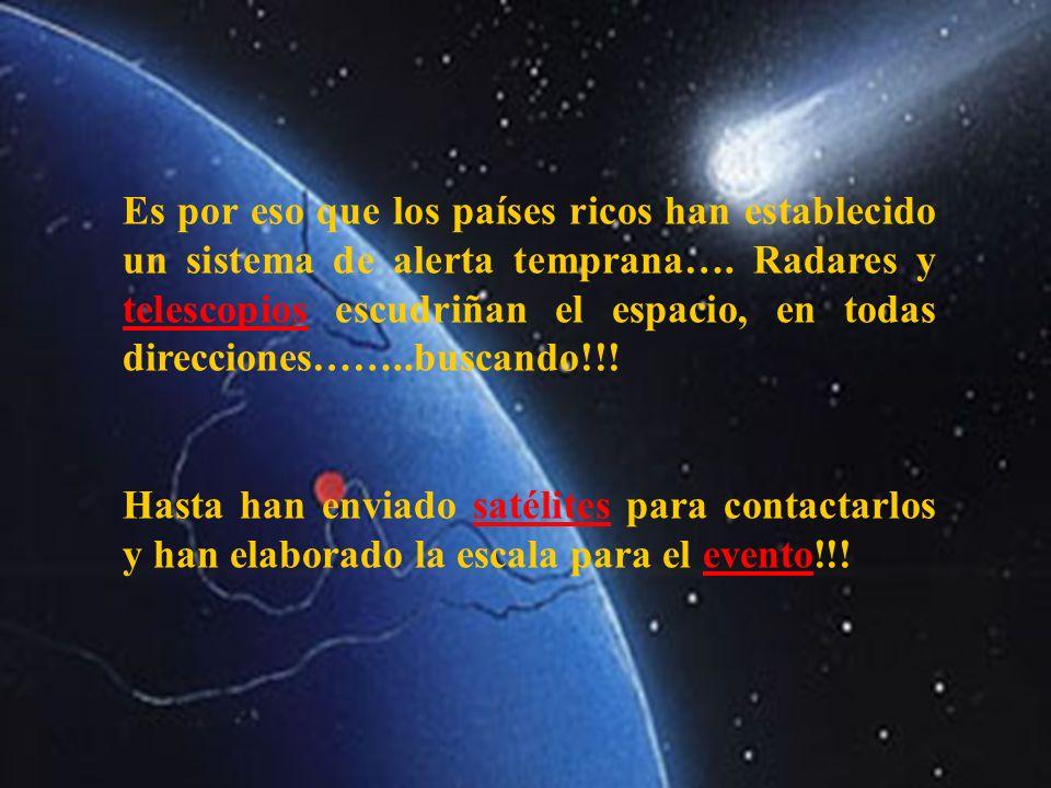 Es por eso que los países ricos han establecido un sistema de alerta temprana…. Radares y telescopios escudriñan el espacio, en todas direcciones……..buscando!!!