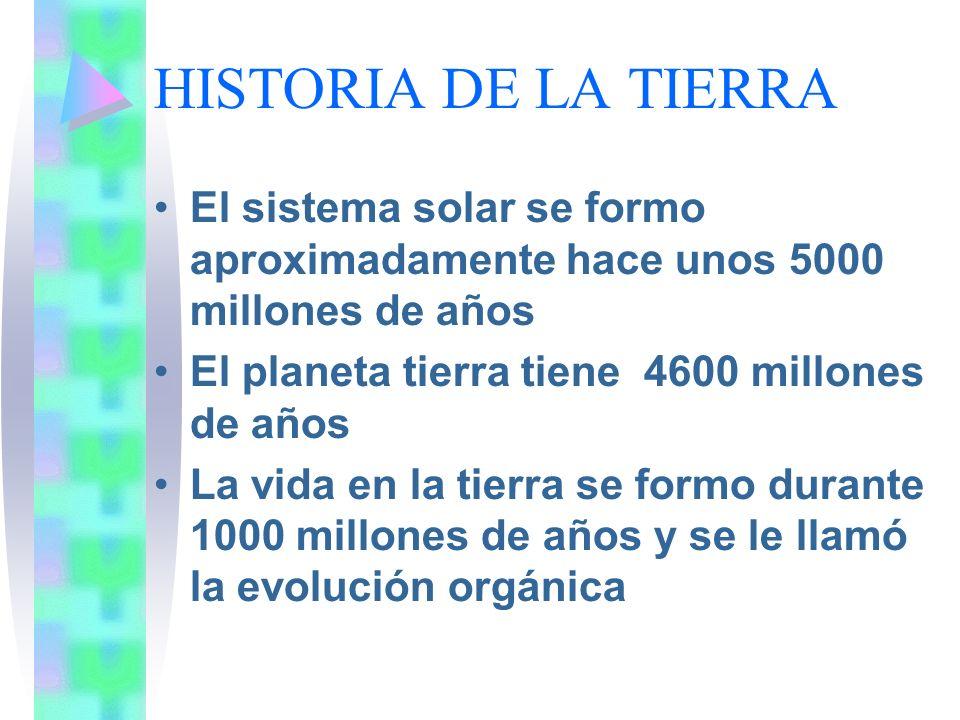 HISTORIA DE LA TIERRA El sistema solar se formo aproximadamente hace unos 5000 millones de años. El planeta tierra tiene 4600 millones de años.