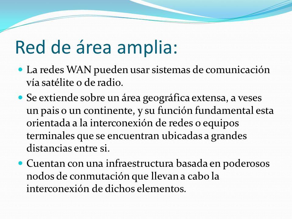 Red de área amplia: La redes WAN pueden usar sistemas de comunicación vía satélite o de radio.