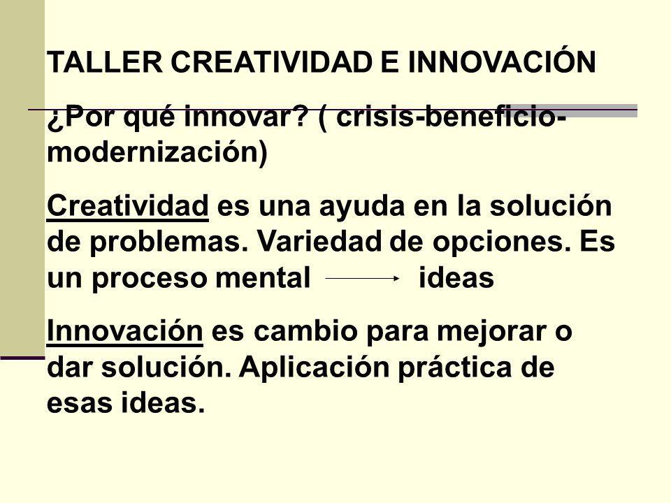 TALLER CREATIVIDAD E INNOVACIÓN