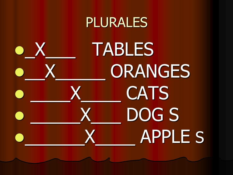 _X___ TABLES __X_____ ORANGES ____X____ CATS _____X___ DOG S
