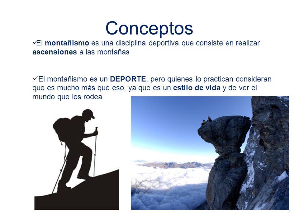 Conceptos El montañismo es una disciplina deportiva que consiste en realizar ascensiones a las montañas.