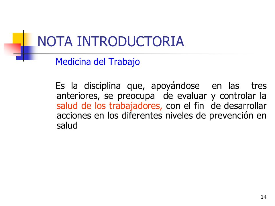 NOTA INTRODUCTORIA Medicina del Trabajo