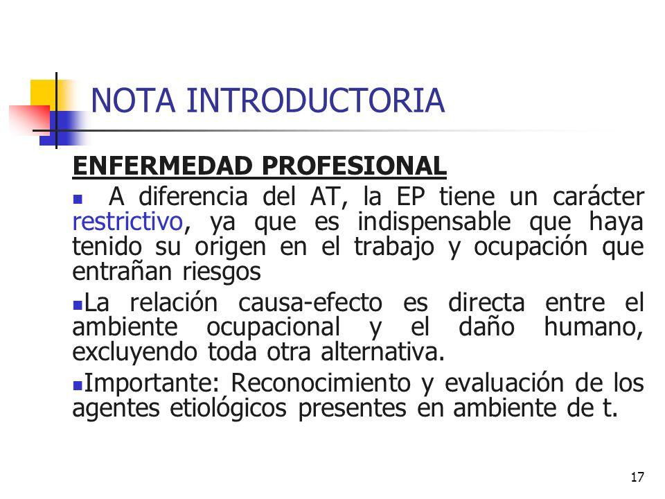NOTA INTRODUCTORIA ENFERMEDAD PROFESIONAL