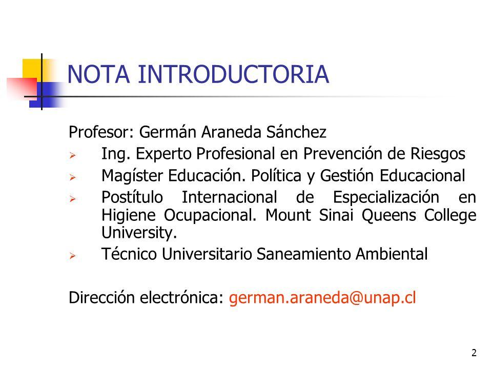 NOTA INTRODUCTORIA Profesor: Germán Araneda Sánchez