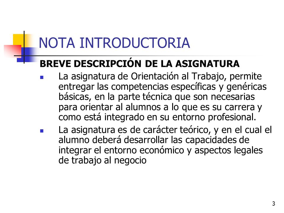 NOTA INTRODUCTORIA BREVE DESCRIPCIÓN DE LA ASIGNATURA