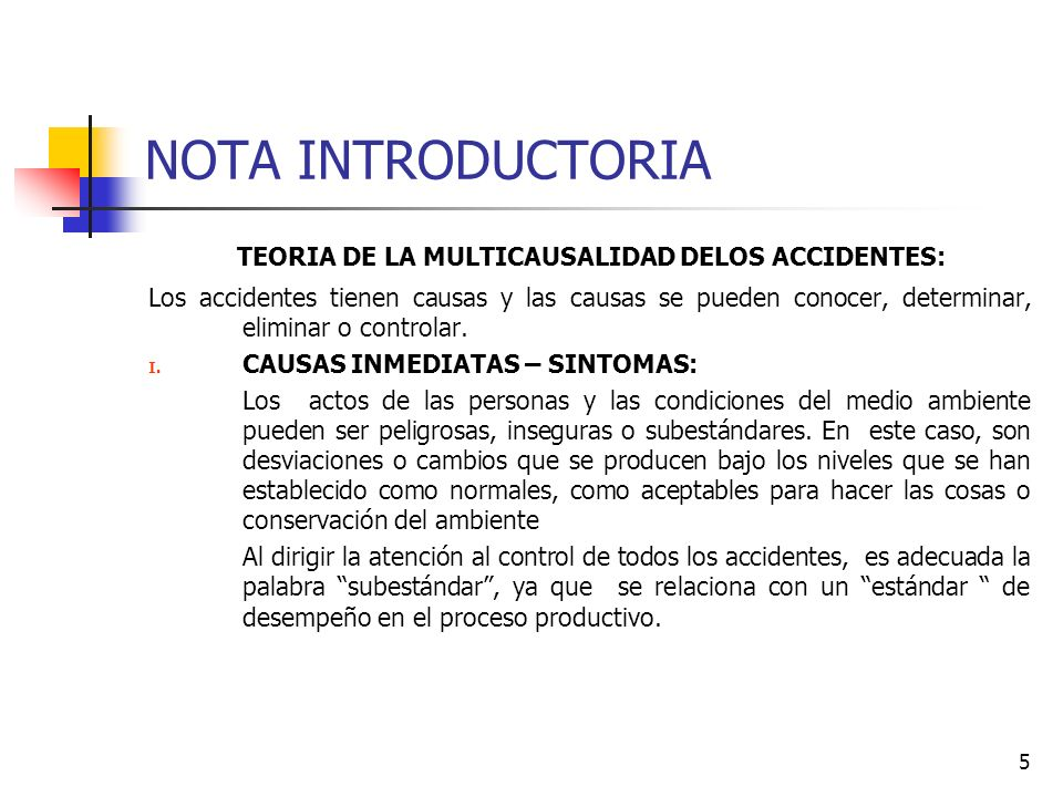 NOTA INTRODUCTORIA TEORIA DE LA MULTICAUSALIDAD DELOS ACCIDENTES: