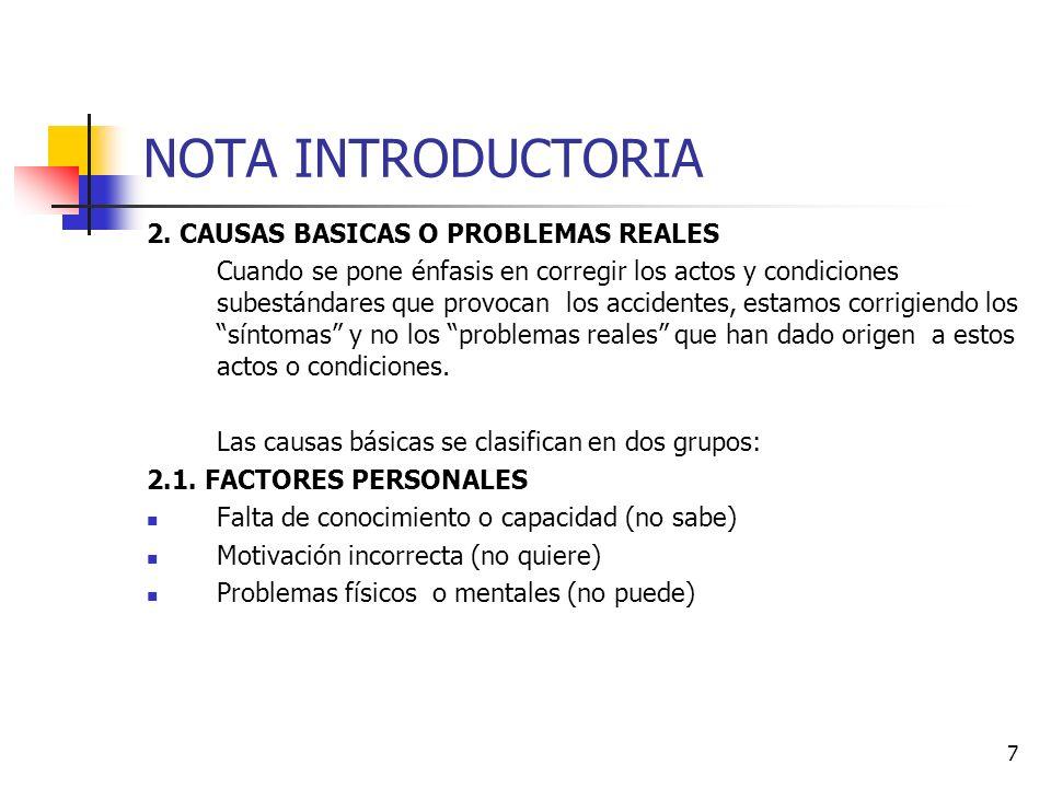 NOTA INTRODUCTORIA 2. CAUSAS BASICAS O PROBLEMAS REALES